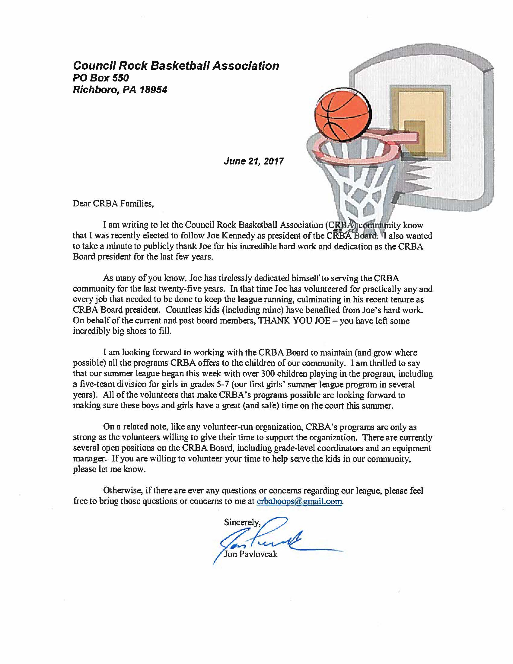 Council rock basketball association information about council rock presidents letter 62117 stopboris Choice Image